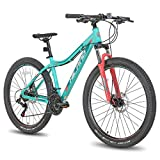 Hiland Women's Mountain Bike 27.5 Inch MTB Bicycle for 16.5 Inch with Suspension Fork 24-Speed Urban Commuter City Bicycle Mint Green