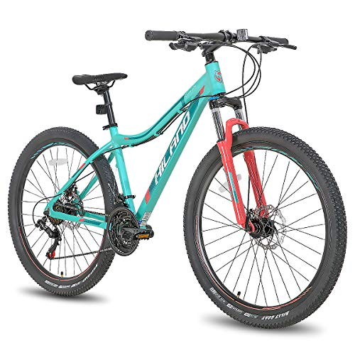 Hiland 27.5 Inch Mountain Bike 24Speed MTB Bicycle for Women 16.5 Inch with Suspension Fork Urban Commuter City Bicycle Mint Green
