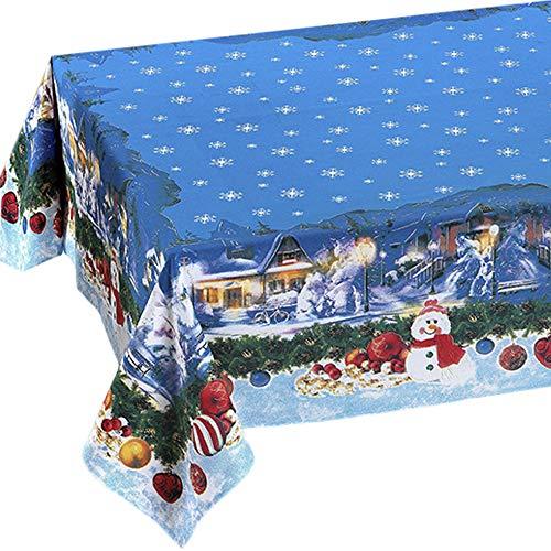 Tovaglia di Natale Rettangolare 100% cotone con Stampa Eco-Friendly disegno PUPAZZI DI NEVE 140 x 180 cm MADE IN ITALY