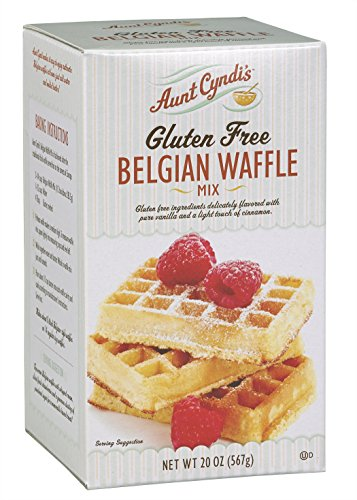 Aunt Cyndi's Gluten Free Belgian Waffle Mix, Organic Vanilla and Cinnamon, No Artificial Colors, Flavors, or Preservatives. GMO-Free ingredients, Certified GF. Ready in under 30 mins (1/20oz Box)