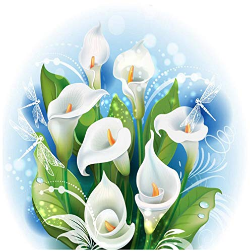 GESUTO 5D DIY Diamond Painting Calla Flower Full Drill Embroidery Wall Art Picture