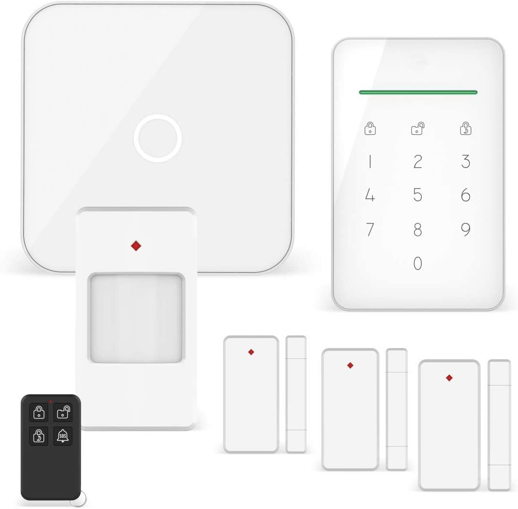 ELRO AS90S Home+ Smart Wireless Alarm System Base, Unidad, Detector de Movimiento, 3X Contacto de Puerta/Ventana y Control Remoto-WiFi-Función gsm-Mejor Probado, Juego Completo