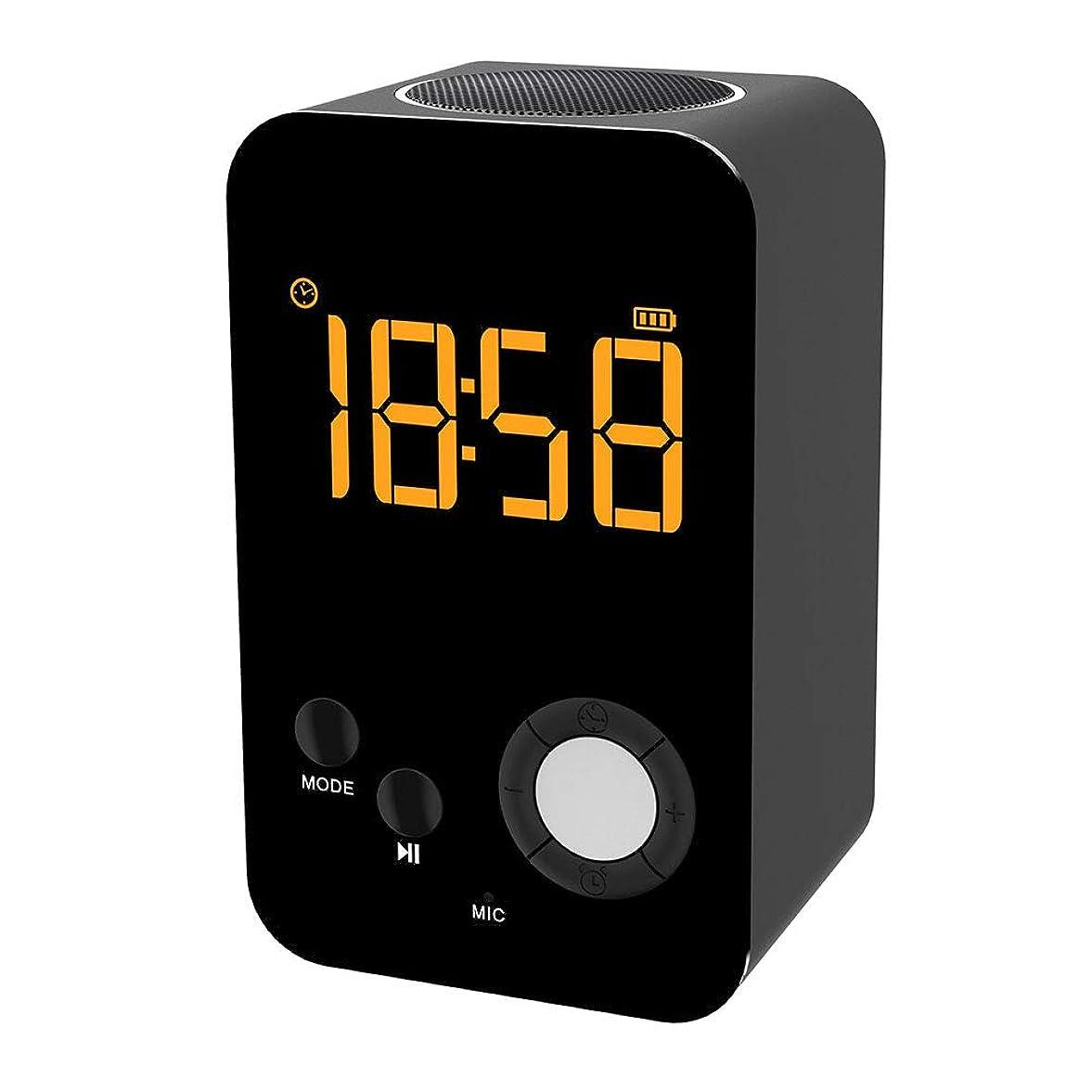 書誌反動モスクHDミラー付きミニワイヤレスブルートゥース LEDスピーカー 多機能ミラー目覚まし時計HiFiステレオスピーカー タッチコントロール