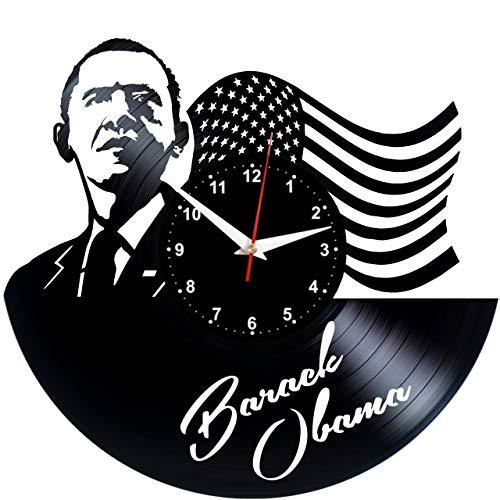 EVEVO Barak Obama Wanduhr Vinyl Schallplatte Retro-Uhr Handgefertigt Vintage-Geschenk Style Raum Home Dekorationen Tolles Geschenk Wanduhr Barak Obama