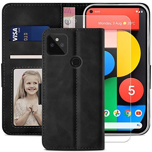 YATWIN Handyhülle Google Pixel 5 Hülle +1 Stück Panzerglas Schutzfolie, Klapphülle Google Pixel 5 Premium Leder Brieftasche Schutzhülle [Kartenfach][Stand] Handytasche Hülle für Google Pixel 5 Schwarz