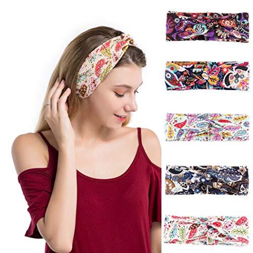 sethexy boho headbands elastic criss