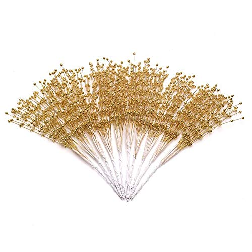 xinhuida 100PC Bridal Wedding Pearl Bouquet Party Decoration Pearl String Beaded Garland – Beads Garlands Wedding Party Decoration DIY Accessories for Christmas (Gold)