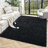 HQAYW Modern Fluffy Area Rug, Shaggy Rugs for Bedroom Living Room Ultra Soft Shag Fur Carpets for Kids Girls Nursery Plush Fuzzy Rug Cute Home Decor Rug, 4' x 6', Black