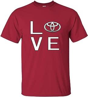 Men's I Love Toyota Logo Graphic T Shirt Fan Enthusiast Tee Classic