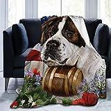 Saint Bernard Lovely Dog American Flag Fleece Blanket Throw Lightweight Blanket Super Soft Cozy Bed Warm Blanket for Living Room/Bedroom All Season