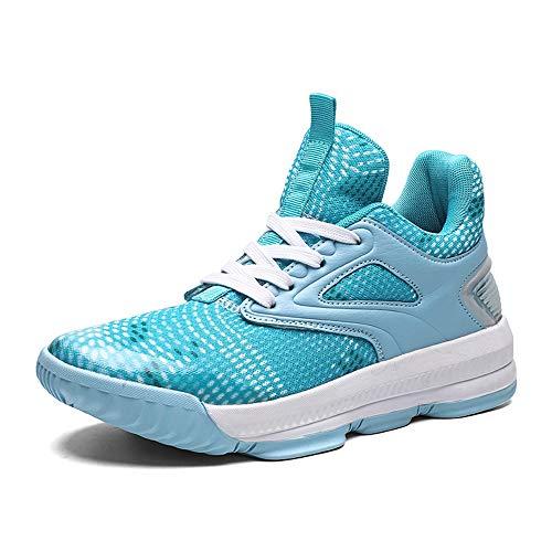 FJJLOVE Zapatos De Baloncesto De Los Hombres, El Rendimiento De Absorción De Choque Baloncesto Botas De No Deslizamiento Resistente Al Desgaste De Baloncesto Zapatillas De Deporte Trainer,Azul,39