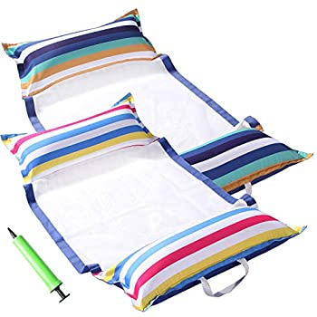 FindUWill Pool Hammock Floats XL 2Pack Inflatable Water Hammocks Floaties 4-in-1  Saddle Lounge Chair Hammock Drifter  Pool Float Lounger for Adults