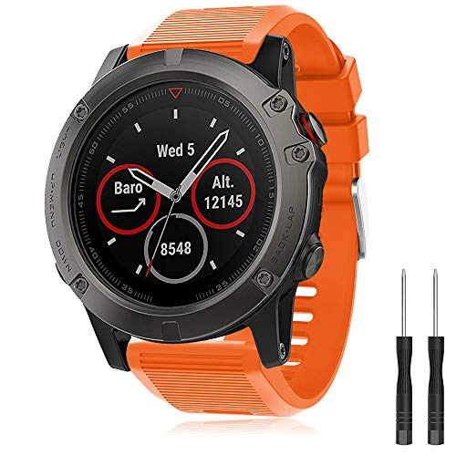 YASPARK Armband Fenix 5X/Fenix 5X Plus/Fenix 6X/Fenix 6X Pro/Fenix 3 /Fenix 3 HR, 26mm Breite Armbänder Silikon Quick-Fit Uhrenarmband Sport Zubehör