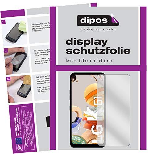 dipos I 6X Schutzfolie klar kompatibel mit LG K61 Folie Bildschirmschutzfolie (bewusst Kleiner als das Glas, da Dieses gewölbt ist)