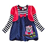 VIKITA Robes Manches Longues Coton Fille 2-6 Ans LG006RED 4T