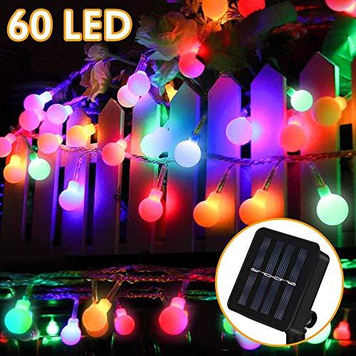 Solar Lichterkette Außen, Molbory 8 Meter 60er LED Solar Lichterkette mit LED Kugel 8 Modi IP65 Wasserdicht Mehrfarbig Lichterkette mit Lichtsensor Beleuchtung für Garten, Partys, Rasen, Hochzeit