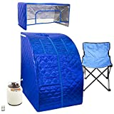 WYZworks Blue Portable Therapeutic Personal Steam Sauna Spa Room 2L Water Capacity with Headcover and Herb Box