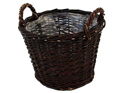 Franz Müller cesta de mimbre para jardín ung. Sauce con sembradora de hojas marrón 40x40x40 cm