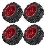 FECAMOS Neumáticos RC 144001 Neumático Modificado, neumáticos Resistentes al Desgaste, Ruedas RC, plástico + Caucho para 144001 124018/124019 para automóviles(Red)