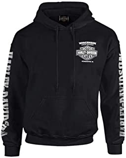 Harley-Davidson Men's Lightning Crest Pullover Hooded Sweatshirt, Black