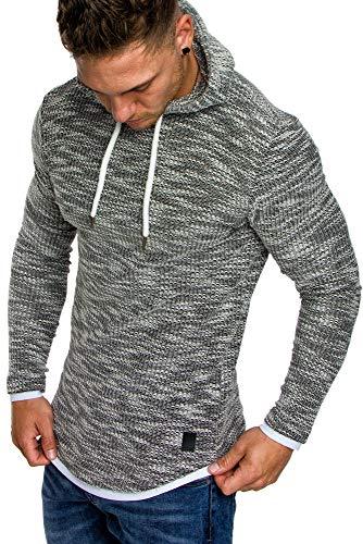 Amaci&Sons Herren 2in1 Kapuzenpullover Hoodie Sweater Pullover Sweatshirt 4013 Schwarz L