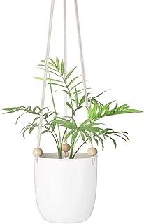 Mkono Ceramic Hanging Planter Macrame Plant Holder Succulent Flower Pot with Wood Beads