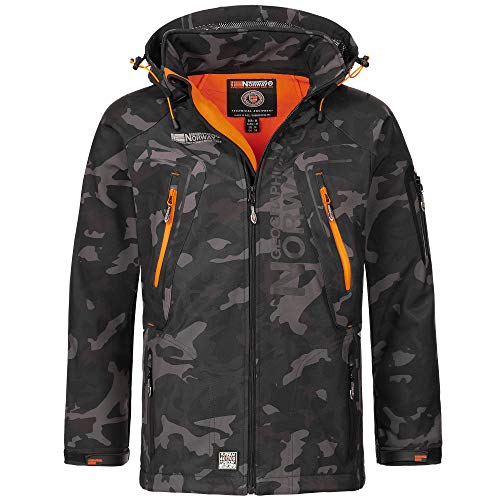 Geographical Norway Herren Softshell Outdoor Jacke Tambour/Taco/Techno abnehmbare Kapuze Black/orange 3XL