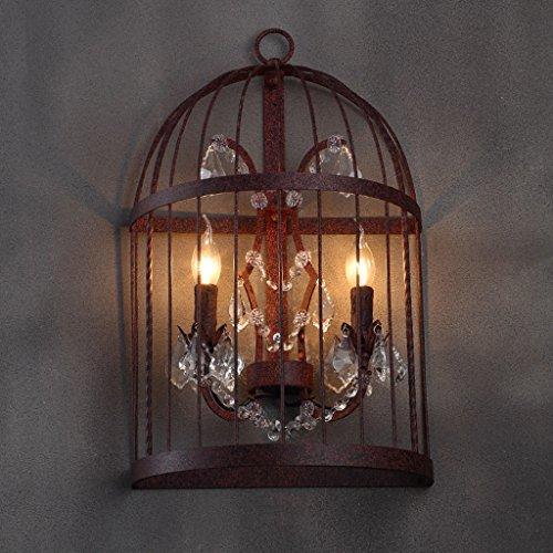 Style Rural Rural Pastoral LOFT Chambre Industrielle Chambre De Lit Iron Birdcage Crystal Wall Lamp