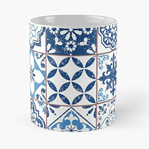 Portuguese Azulejos – Taza de café de cerámica blanca