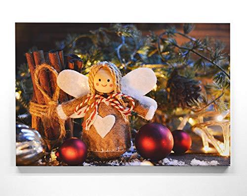 Bezauberndes Wandbild zu Weihnachten, Engel gebastelt - als großes XXL Leinwandbild 120x80cm. Ideal als Hintergrund und Dekoration für Wohnzimmer & Schlafzimmer. Aufgespannt auf 2cm Holzrahmen