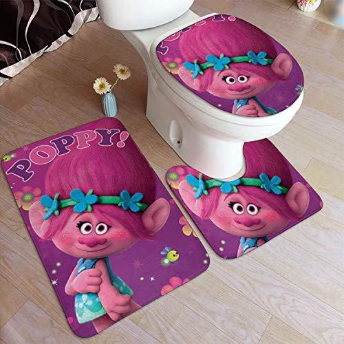 Bath Rugs Toilet Three-Piece Floor mat, Trolls Poppy Flannel Embossing Bath Rugs 50x80cm