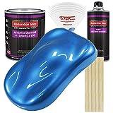 Restoration Shop - Fiji Blue Metallic Acrylic Urethane Auto Paint - Complete Gallon Paint Kit - Professional Single Stage High Gloss Automotive, Car, Truck Coating, 4:1 Mix Ratio, 2.8 VOC