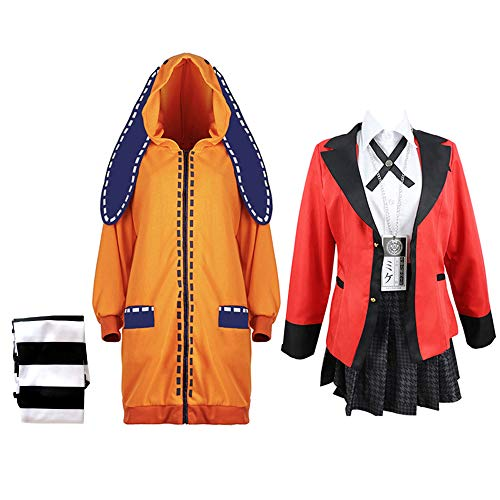 Anime Kakegurui Cosplay Kostüme Yomoduki Runa Schule Uniform Cosplay für Party Halloween Yomoduki Runa Mantel Jacke Rock Socken voller Set - Anime-Liebhaber-Geschenk