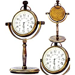 """JD'Z COLLECTION Analog Desk Clock for Office Tabletop Antiquated Brass Handmade Engraved Decorative Simple,Brass (5.5"""" Height)"""