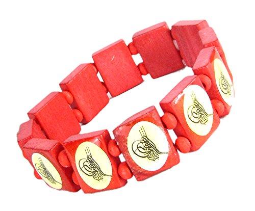 Lovely Lauri Holz Armband religiöse arabische Schriftzeichen Bismillah Rot