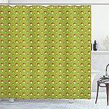 ABAKUHAUS Pilz Duschvorhang, Childish Toadstools, Set inkl.12 Haken aus Stoff Wasserdicht Bakterie & Schimmel Abweichent, 175x200 cm, Apfelgrün Vermilion