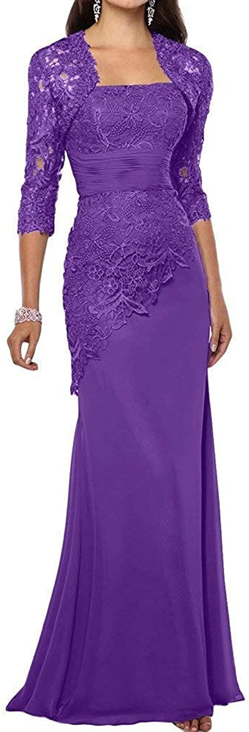 Liyuke Women's Mother of The Bride Dresses Long Lace Evening Dress with Jacket