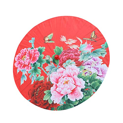 Ouniman Asian Chinese Silk Umbrella Parasol Multicolor Small Bamboo Silk Cloth Umbrella Classical Decorative Handmade Painted Flowers Paper Umbrella for Party Floral Peony Cherry Blossom, 22inch (G)