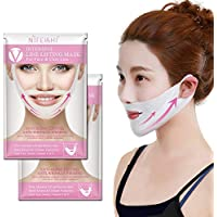 NIFEISHI V Line Lifting Mask (2 Pack) Chin Up Patch V Shape Face Lifting, Double Chin Reducer Intense Lifting Mask Neck Mask V Shape Face Mask for Firming Moisturizing Face and Neck Lift.