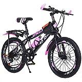 Mikia Bicicleta de montaña 7 velocidades Bicicleta Bicicleta al Aire Libre por 6-14 años Niños Chicas y Estudiantes Freno de Disco Doble Ideal Cumpleaños Navidad Regalo,Rosado,22inch