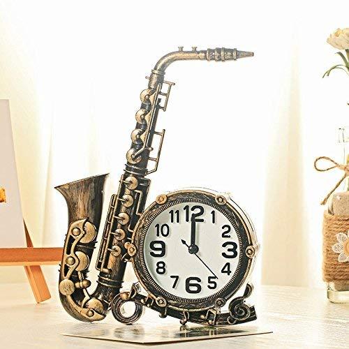 ZXL Home Decor Saxofoon Modeling Alarm Klok Digitale Klok Nummer Ronde Stoel Bureau Alarm Klok Kinderen, Brons