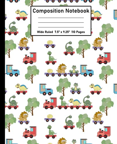 """Composition Notebook Wide Ruled: Writing Journal Notebook with Lined Paper, Boho Triceratops Dinosaur on the Train Comp Book For Girls Students Kids Boys and Adults (7.5"""" x 9.25"""" 110 Pages)"""