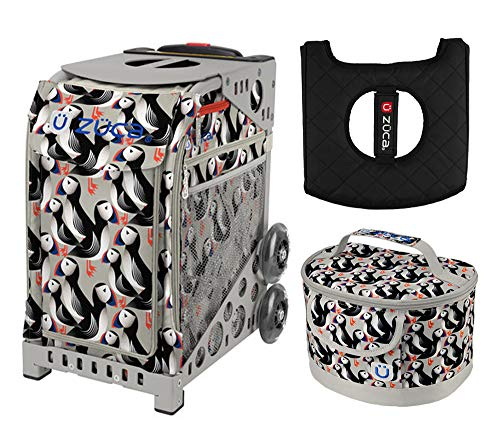 Zuca Sport Bag - Playful Puffins with Gift Lunchbox and Seat Cushion (Grey Frame)