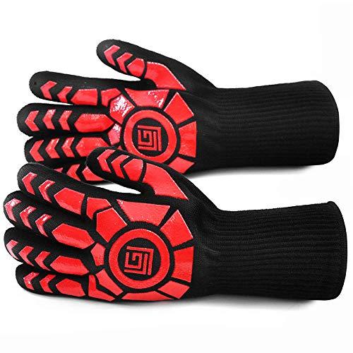 Hengci Hohe Temperaturbeständigkeit Wärmeisolierung 500 Grad Handschuhe Mikrowelle Backofen Grill Picknick Verbrühschutz Spezial Silikon rutschfest Hitzebeständig Handschuhe