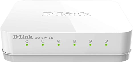 D-Link Ethernet Switch, 5 Port Unmanaged Gigabit Desktop Plug and Play Compact Design..