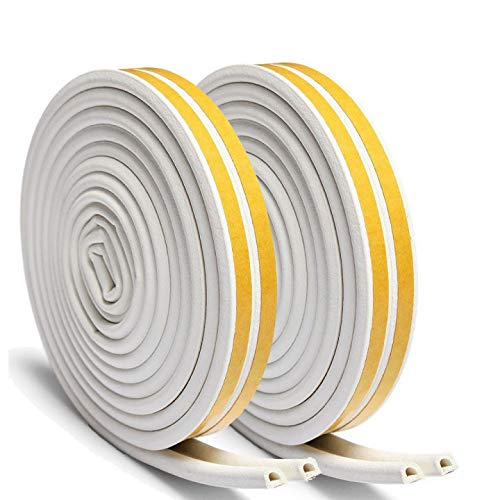 Maxesla Weather Strip Tape -Durable Window Draft Excluder Seal Strips Doors Anti-Collision Self-Adhesive Rubber D Type EPDM Foam Seal Soundproofing Rubber Weatherstrip [2 Pack],4 Seals Total 12M