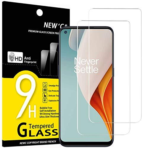 NEWC 2-pack skärmskydd med OnePlus Nord N100 – Härdat glas HD klar 9H hårdhet bubbelfritt