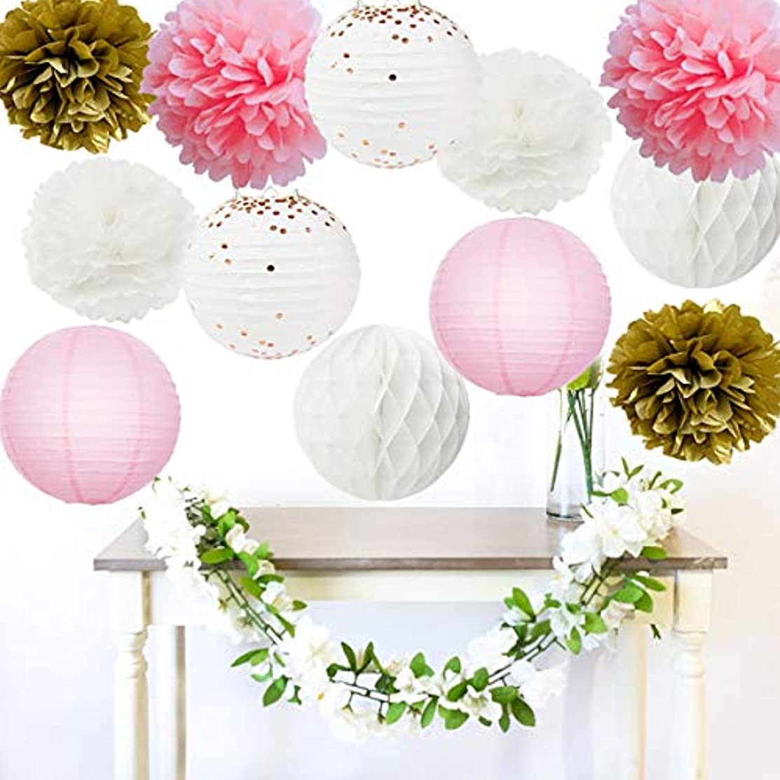 Furuix Baby Shower Decorations 12pcs Pink Gold Party Decorations Tissue Paper Pom Pom Champagne Polka Dot Paper Lanterns for One Year Old Girls' Princess Birthday Decorations