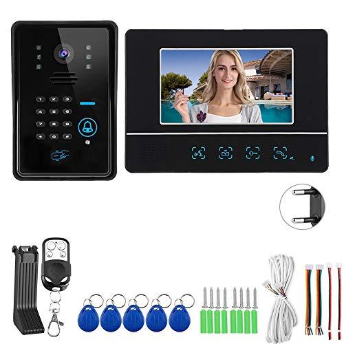 Videoportero, Brillo de Volumen y Contraste Función de desbloqueo retardado Ajustable Pantalla LCD Tft de 7 Pulgadas Timbre de Video de Alta definición, Intercomunicador Interior silencioso(Transl)