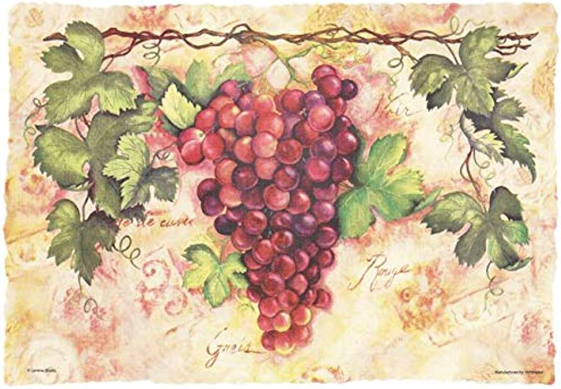 Hoffmaster Tuscany Grapes Paper Placemats Scalloped Burnt Edge 50 Per Pack